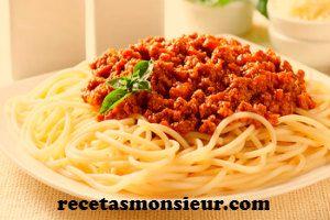 Receta de espaguetis a la boloñesa